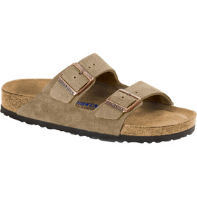 Birkenstock Arizona Soft Footbed Sandals Suede Leather Narrow, taupe